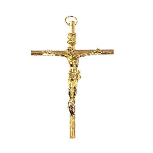 Catholic-large-gold-crucifix-rosary-cross-pendant-9cm