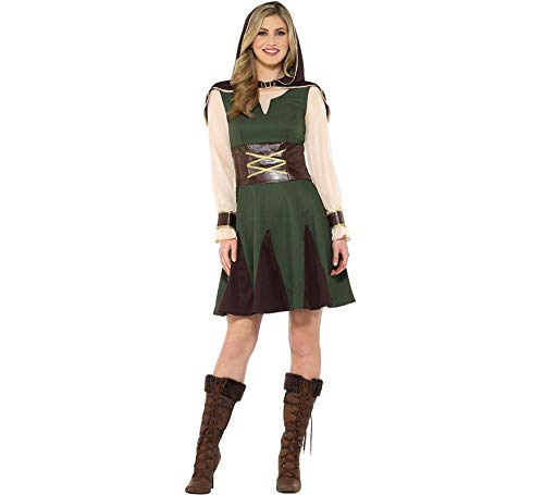 Smiffys Lady Robin Hood Damen Kostüm Karneval Jägerin Mittelalter (Für Erwachsene Jägerin Kostüm)