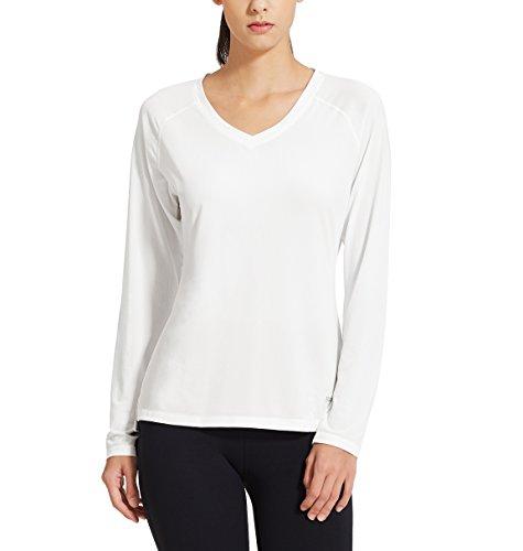 Baleaf Damen Fitness T-Shirt Sweatshirts Langarm Atmungsaktiv Mesh Laufshirt Weiß Größe XL (T-shirt Besser V-neck Womens)