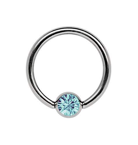 Titan Ring in 1,2 x 12 mm als Lippenbändchen Piercing mit flachem Stein in 3 mm Ø, hellblau-türkis