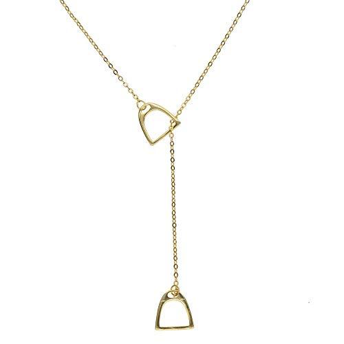 ZUXIANWANG Damen Halskette,Gold 925 Sterling Sliver Steigbügel Geformte Anhänger Für Halsketten Freund Anniversary Party Halskette