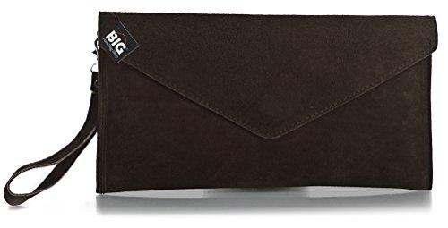 Big Handbag Shop, Borsetta da polso donna One Dark Chocolate (BH597)