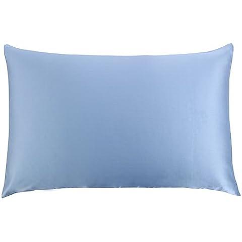 cosfy 100% pura seta federa per capelli federe di bellezza del viso, parte inferiore in cotone con cerniera hidder 1pc, Seta, Light Blue, King