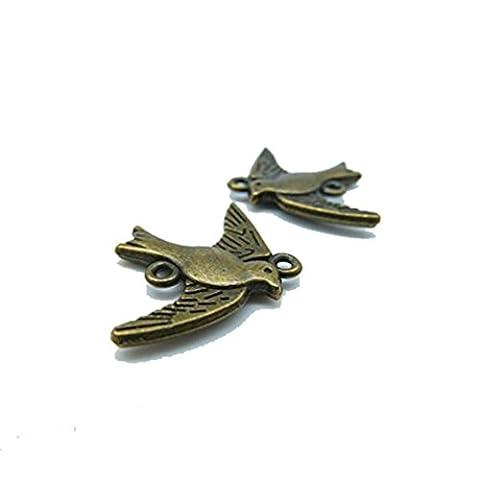 30Stück 22x 18mm antik bronze Lovely Mini Schlucken Vogel Stecker link Charm Anhänger C2058