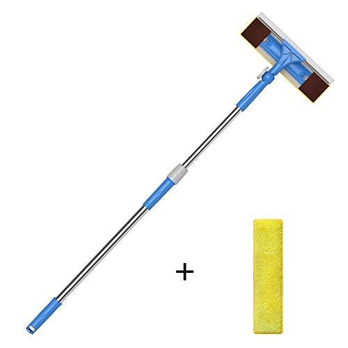Merisny Limpiacristales 2 en 1 con Microfibra Telescópico Mango, 180 Grados Ajustable, 1.45m para Ventanas...