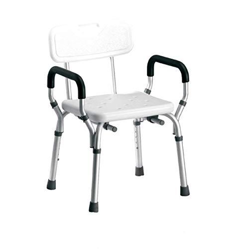 AUFUN Duschhocker Duschstuhl Höhenverstellbar Duschhocker mit Armlehne und Rückenlehne Anti-Rutsch Badsitz Duschhilfe Duschsitz aus Alu und Kunststoff für Alter, Schwangere