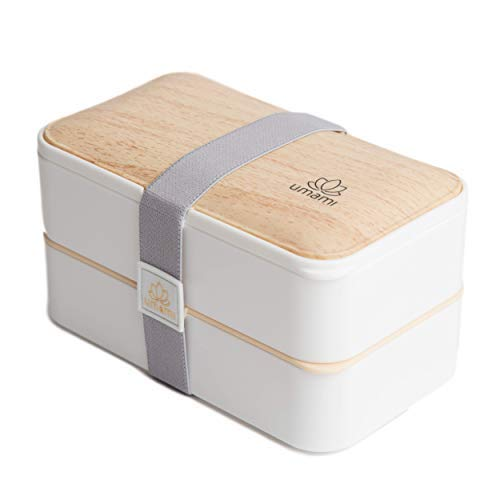 Umami lunch box bianco bambù | contenitore porta pranzo ermetico 2 scomparti e 3 coperchi con posate | per microonde e lavastoviglie | contenitori alimentari bento box portatile no bpa