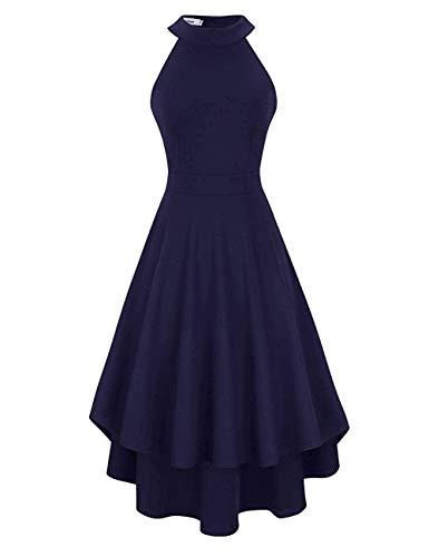 Clearlove Damen Abendkleid Ärmellos Cocktailkleid Neckholder Brautjungfernkleid Elegant Asymmetrisches Partykleid, Navy-nicht Rückenfrei, XXL (Prinzessin Kleider Für Damen)