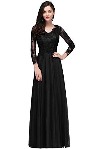 Damen A-Linie Langarm Spitzen Brautkleid Hochzeitskleid Applique lang Schwarz 32