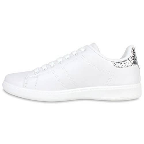 Damen Sneakers Sportschuhe Schnürer Lack Lederoptik Schuhe Silber Alvite