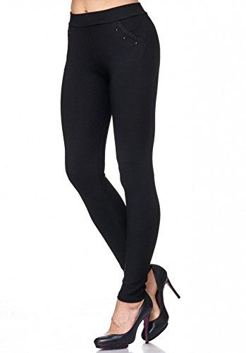 Pantaloni da donna con strass e rivetti Leggings D2114 Nero