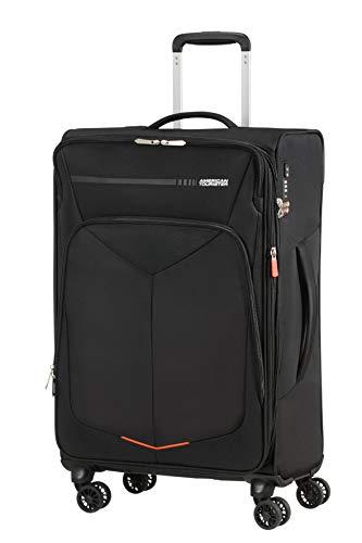 American tourister summerfunk bagaglio a mano, spinner m espandibile (67.5 cm - 77l), nero (black)