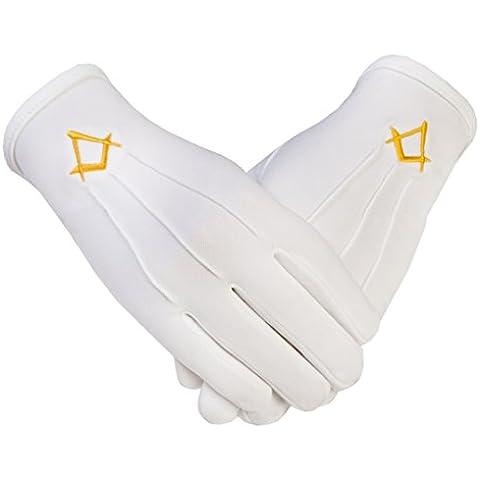 De símbolo masónico de la Logia en color dorado SC guantes de algodón