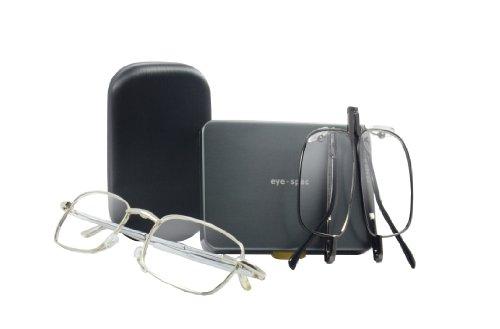 executive-set duo (2 Brillen - 1 eye-classic & 1 eye-sight) hochwertiger faltbare Lesebrillen mit passendem eleganten Etui (+3.00, schwarz / grau)