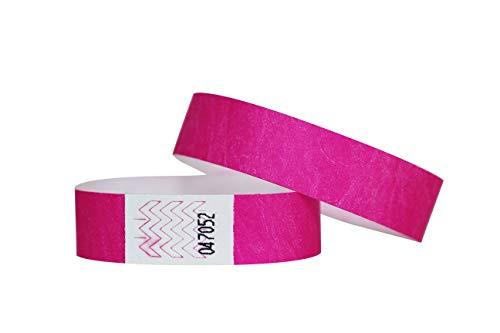 Confezione di 100braccialetti in carta Tyvek, 19mm, per eventi, festival,indistruttibili e personalizzabili,12colori disponibili 19mm Rosa