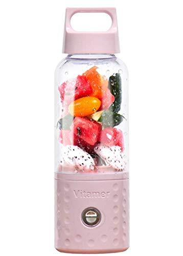 MIJIN Licuadora portátil, Smoothie batidora USB Juicer Cup, 17oz máquina de Mezcla de Frutas con baterías Recargables 4000mAh, Desmontable,Pink