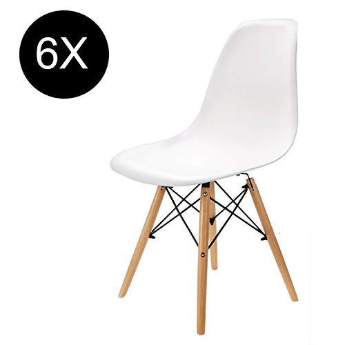 Set von 4/6 Kunststoff Eiffel Weiß Wohnzimmerstuhl Esszimmerstuhl Bürostuhl (weiß-6er Set) -