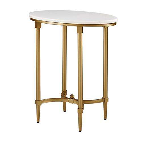 ZHJ-table Goldener Schmiedeeiserner Marmor Kleiner Runder Tisch FüR Wohnzimmer Schlafzimmer Studie Seite 50cmx35cmx55cm