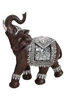 Preciosa Figura de elefante 6x 14x 17cm marrón/plata