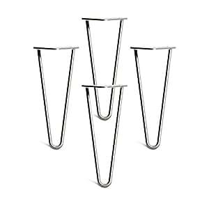 Outmoment Haarnadel Tischbeine, 4x Mitte des Jahrhunderts Modern Stil DIY 2 Stangen Möbelbein mit Bodenschoner & Schrauben für Couchtisch Esstisch Schreibtisch, Rohlstahl 16'' / 40cm
