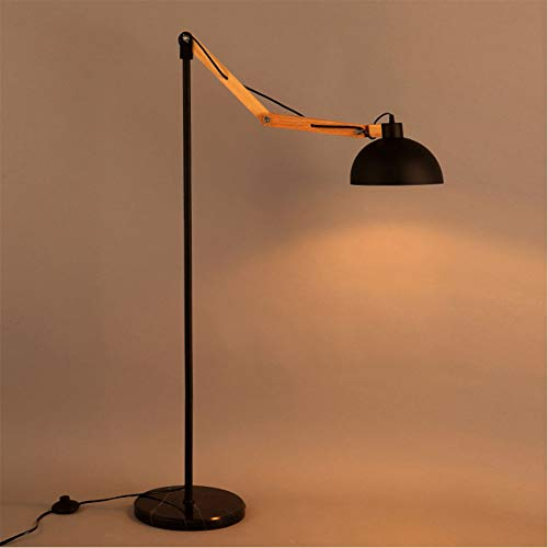 DECORATZ Stehleuchte, einfach, Retro, zum Lesen, Massivholz + Basis aus Marmor, Lampe, E27, Schrauben, Winkel verstellbar, Schlafzimmer, Wohnzimmer -