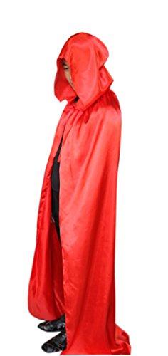 ICSTH Damen Hexenkostüm Satin Cape Holloween Party Kostüm Umhang - Rot - 150 (Holloween Kostüm Hexe)