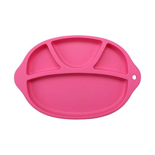 Silikon geteilten Kleinkind Teller-Tragbare Rutschfeste Saugnapf Teller für Kinder Babys und Kinder BPA-Frei FDA Genehmigt Baby Essteller Rosig - Platten Aufgeteilt Für Kinder