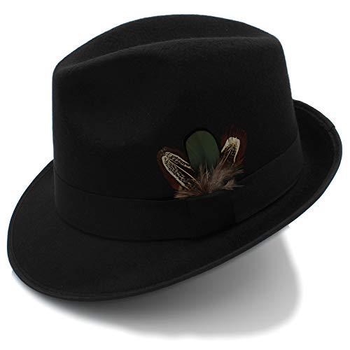 2018 Sombreros Sombrero Fedora para Hombres Sombreros Fedora de Fieltro de Lana Vintage con Pluma Autumn Winter Wide Brim Gentleman Jazz (Color : Negro, tamaño : 56-58cm)