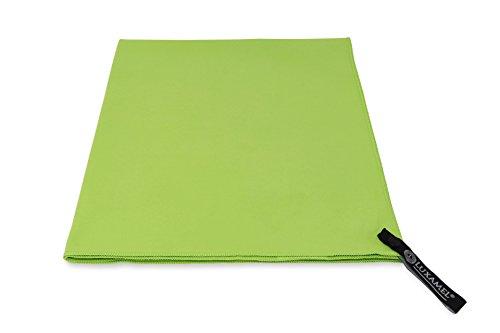 Mikrofaser Handtuch 90x180, grün – ultra saugfähig, schnell trocknend - Microfaser perfekt als Sporthandtuch, Saunahandtuch, Badetuch, XXL Strandhandtuch - mit praktischem Trage-Beutel (Mikrofaser Saugfähig)