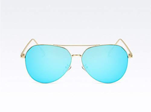 WSKPE Sonnenbrille,Luftfahrt Piloten Sonnenbrille Sonnenbrille Frauen Männer Phototrope Brille Gold Frame EIS,Blaue Linse - Eis-piloten