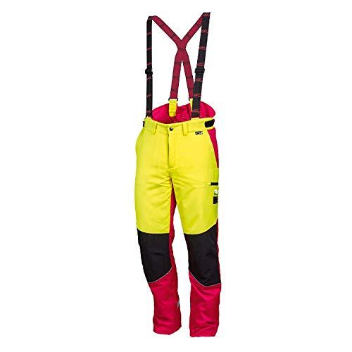 NEU! WORKY ® Forstschnittschutzhose Komfort, modern, rot/neongelb, gut sichtbar, Gr. 48 - 62 (56)