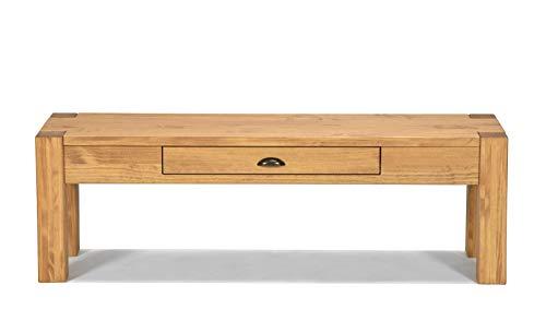 Naturholzmöbel Seidel Lowboard 160x38cm Höhe 70cm mit Schublade Massivholz Sideboard Konsole Anrichte TV Board Wandtisch, Rio Bonito Pinie Massiv Honig Hell