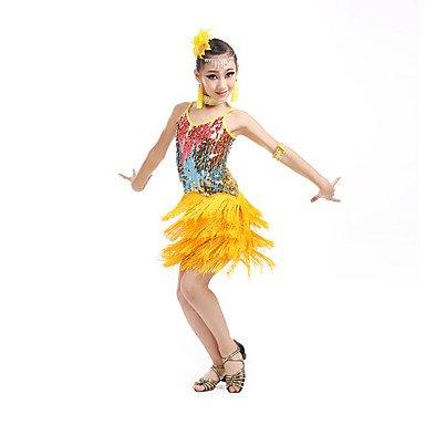 kekafu Wir Latin Dance Kleider Kinder Leistung Elasthan Fashion Pailletten/Quaste (s) Dance Kostüme mit Ohrringen, Gelb, 110