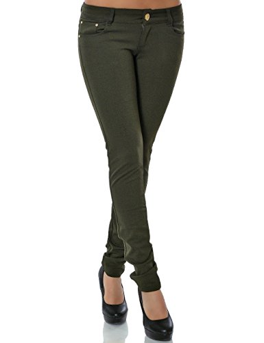 Damen Hose Treggings Skinny Röhre (weitere Farben) No 13011, Größe:S 36;Farbe:Grün