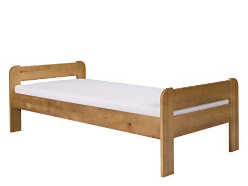 Mirjan24  Holzbett Conrad mit Lattenrost, Massivholzbett in Kiefer, Massivholz Bett, billig Kieferbett mit Kopfteil, Massiv Einzelbett (Eiche, 90 x 200 cm)