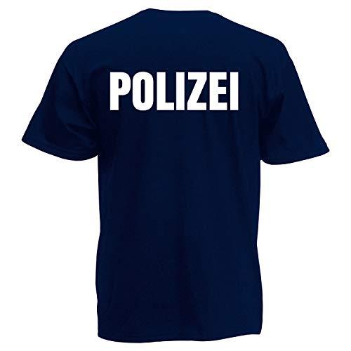 Kostüm Polizei Shirt - Shirt-Panda Herren Polizei T-Shirt - Druck Beidseitig Brust & Rücken Reflex Dunkelblau (Druck Weiß) XL