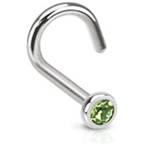 Gekko Body Jewellery Acciaio Chirurgico naso anello con zirconi verde Press Fit Gem – 1 mm (calibro 18)