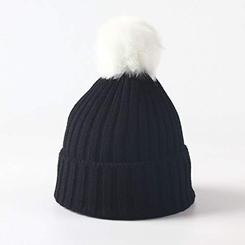Huichao Bonnet Enfant 5 Couleurs, Bonnet en Tricot d'automne et d'hiver, Bonnet Chaud,Black