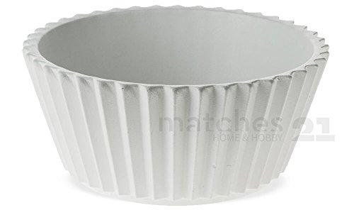 matches21 Blumentöpfe Pflanzgefäße Übertöpfe Keramik Cupcake-Form gezackt Ø 20,5 cm weiß