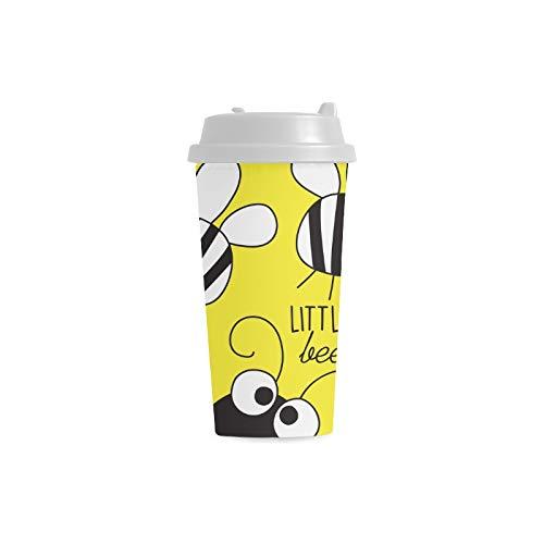 Biene fleißige doppelte Flügel Insekten Gewohnheit 16 Unze doppelwandiger Plastikisolierkunst Sport Wasser Flaschen Becher Pendler Reise Kaffeetassen für Studenten Frauen Milch Teetasse Getränk (Flügel Antenne Biene Und)
