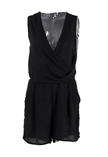 Smile YKK Combinaison Short Femme Mousseline de Soie Jumpsuit Sans Manche Col V Epaule Nue Noir