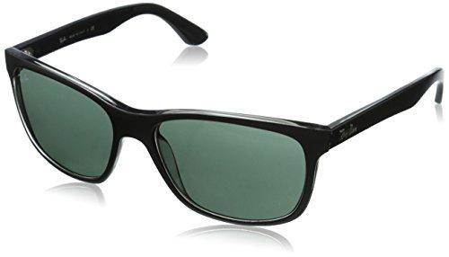 Ray-Ban Unisex Sonnenbrille RB4181, Mehrfarbig (Gestell: Vorderseite schwarz, Rückseite grau transparent Glas: grün 6130), Large (Herstellergröße: 57)