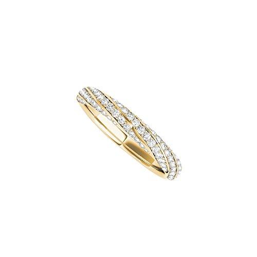 14K Yellow Gold Pave Diamond Wedding Band For Ladies (Pave Diamond Wedding Ring)