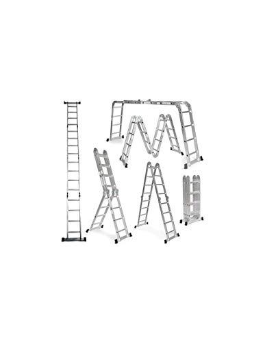 Escalera De Aluminio Plegable 575cm, Multifuncional 6 En 1, Carga Máxima 150kg, Diseño Antideslizante...