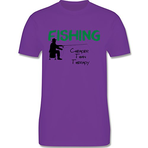 Angeln - Fishing - Cheaper Than Therapy - Herren Premium T-Shirt Lila