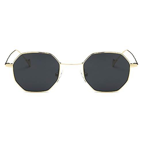 TOOGOO Damen Sechskant Sonnenbrille Retro Vintage Transparente Sonnenbrille Herren Luxus Metall Brille Achteckige Schatten Lunette (Schwarz)