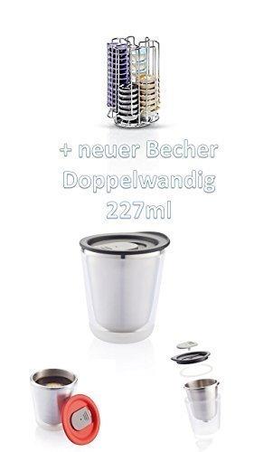 Bosch Tassimo Kapselhalter für 52 Stück T-Discs - 574959 - Kapselspender Kapselständer Thermobecher Aroma to go mit Deckel NEU AUS EDELSTAHL von James Premium® T-disc Carousel
