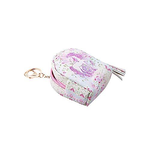 DDG EDMMS Frauen-PU-Einhorn Mini Wallet-Karte Schlüsselanhänger Reißverschluss Geldtasche Clutch