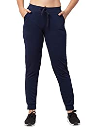 Bluecon Navy Blue Dry Fit/Polyester Slim Fit Solid Track Pant/Yoga Pant for Women