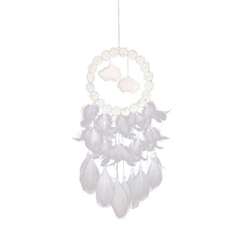 Vosarea Atrapasueños Grande Blanco Pared Colgante de Pared Decoración de Pared con Lámpara de Noche